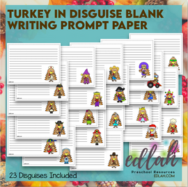 Turkey in Disguise - Blank Writing Prompt Lined Paper