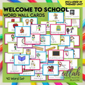 School Vocabulary Word Wall Cards (set of 40) - Full Color -Version#1