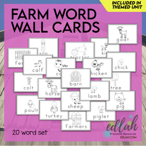 Farm Vocabulary Word Wall Cards (set of 20) - Black & White-Version#1
