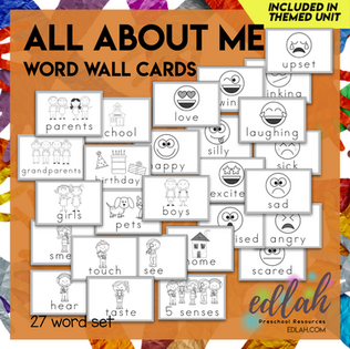 All About Me Vocabulary Word Wall Cards (set of 27) - Black & White -Version#1