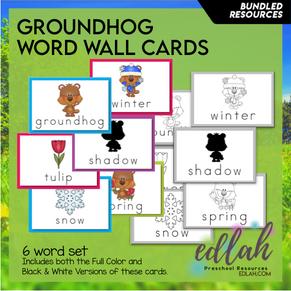 Groundhog Vocabulary Word Wall Cards (set of 6) - BUNDLED-Version#1
