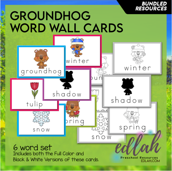 Groundhog Vocabulary Word Wall Cards (set of 6) - BUNDLED-Version#1