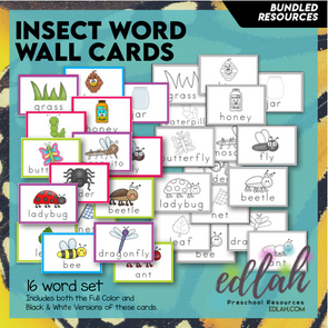 Insect Vocabulary Word Wall Cards (set of 16) - BUNDLE-Version#1