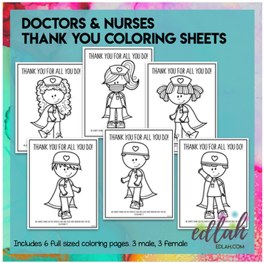 Thank You Coloring Sheets - Doctors and Nurses
