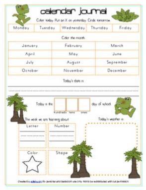 Dinosaur Calendar/Circle Time Journal Sheet
