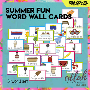 Summer Fun Vocabulary Word Wall Cards (set of 31) Full Color -Version#1