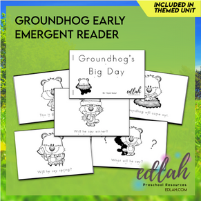 G is for Groundhog Early Emergent Reader - Black & White Version