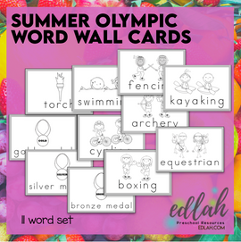 SUMMER Olympic Vocabulary Word Wall Cards (set of 11)- Black & White - Version#1