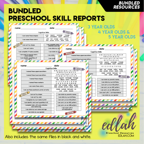 Preschool Skill Report Bundle