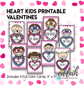 Heart Kids Printable Valentines - Set of 8 - Full Color