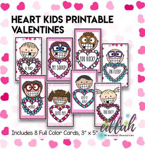 Heart Kids Printable Valentines - Set of 8 - Full Color