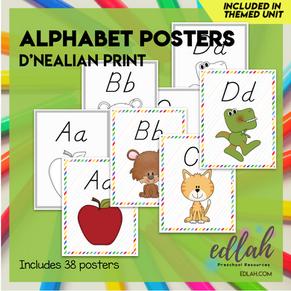 "A-Z Alphabet Posters-D'Nealian 8.5""x11"" - Distance Learning"