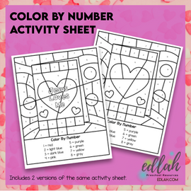 Valentine Color by Number Activity Sheet
