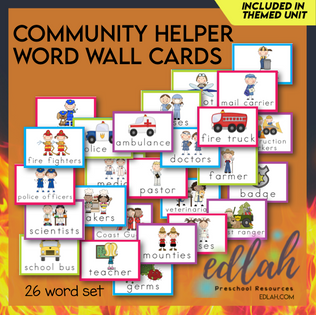 Helping Our Community Vocabulary Word Wall Cards (set of 26)-Full Color-Vs#1