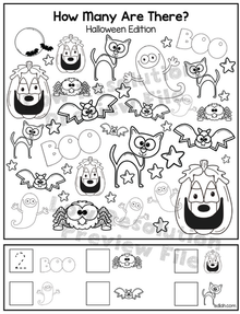 """Halloween """"How Many Are There"""" Activity Sheet"""
