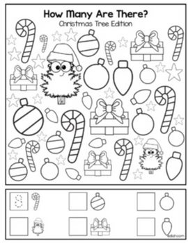 "Christmas Tree ""How Many Are There"" Activity Sheet"