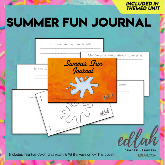 Summer Fun Printable Journal (Full Color and Black and White Versions)