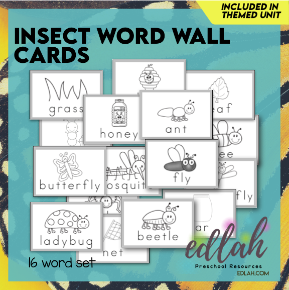 Insect Vocabulary Word Wall Cards (set of 16) - Black & White-Version#1