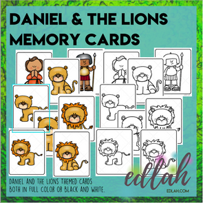 Daniel and the Lions Den - Memory Matching Game Cards