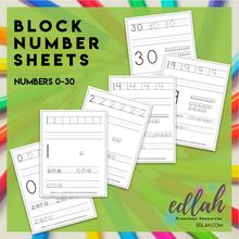 BLOCK Number Practice Sheets (0-30) - Black & White Version