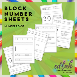 BLOCK Number Practice Sheets (0-30) - Black & White Version