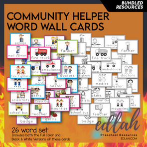 Helping Our Community Vocabulary Word Wall Cards (set of 26) - BUNDLE-Version#1