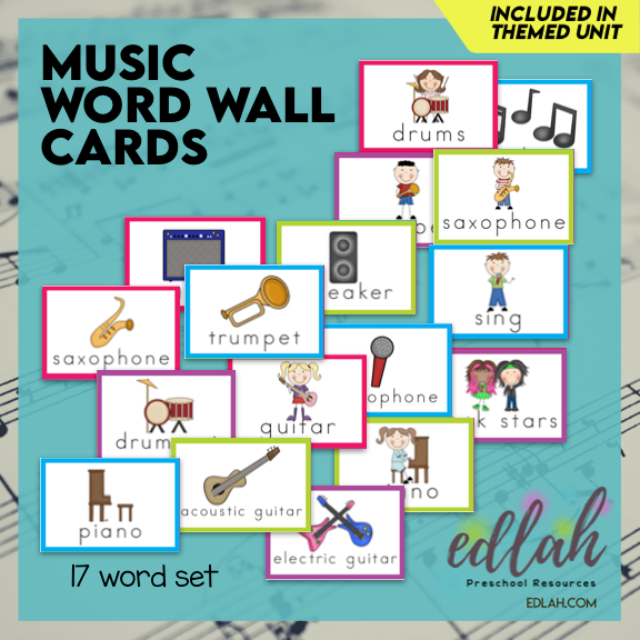 Music Vocabulary Word Wall Cards (set of 17) - Full Color -Version#1