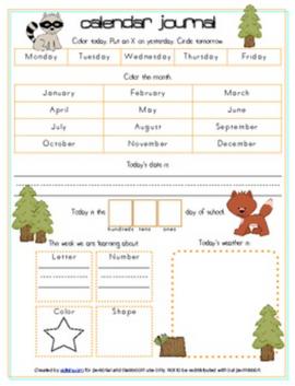 Forest Animals Calendar/Circle Time Journal Sheet
