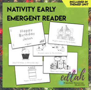 Christmas Nativity Early Emergent Reader - Black & White Version