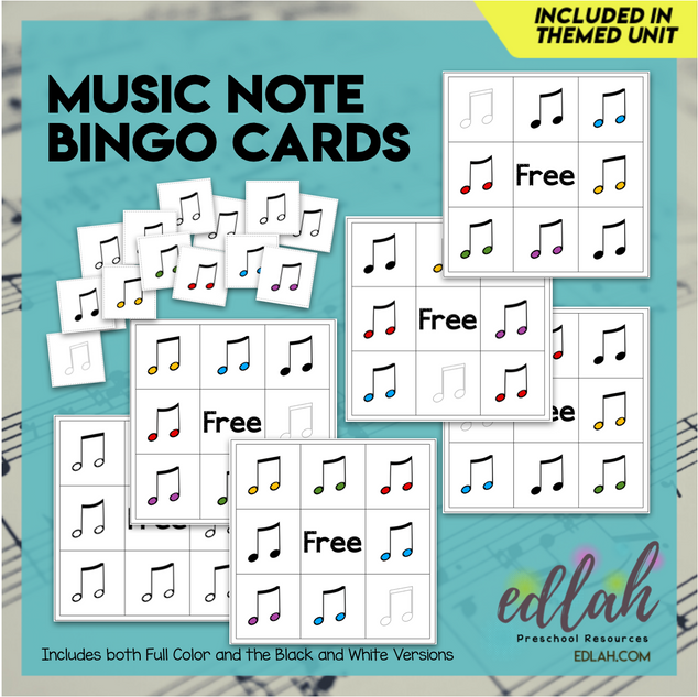 Music Note Bingo (6 bingo cards included)