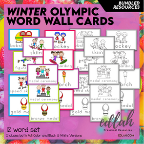 WINTER Olympic Vocabulary Word Wall Cards (set of 12) - Bundled