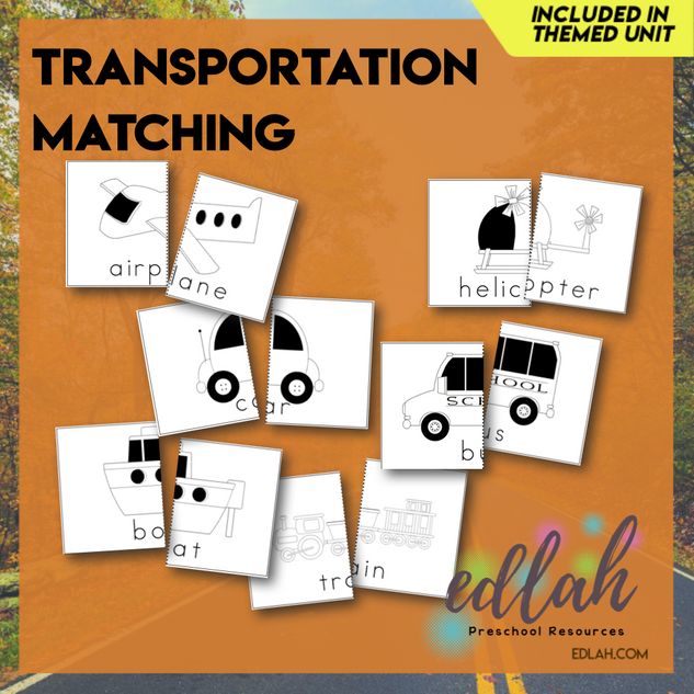 Transportation Matching & Spelling - Black & White Version