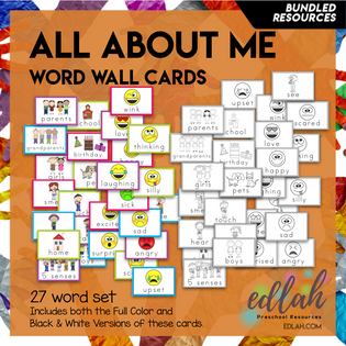 All About Me Vocabulary Word Wall Cards (set of 27) - BUNDLE -Version#1