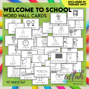 School Vocabulary Word Wall Cards (set of 40) - Black & White-Version#1