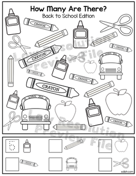 """Back to School """"How Many Are There"""" Activity Sheet"""