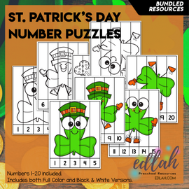 St. Patrick's Day Clover Number Puzzles (1-20)