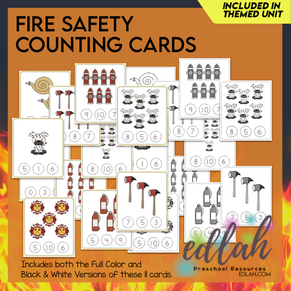 Fire Safety Themed Clothes Pin Number Game 0-10 - Distance Learning