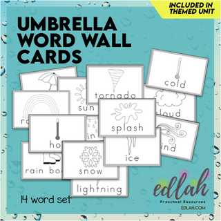 Umbrella/Weather Vocabulary Word Wall Cards (set of 14)-Black & White-Version#1