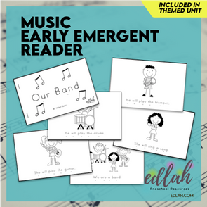 Music Early Emergent Reader - Black & White Version
