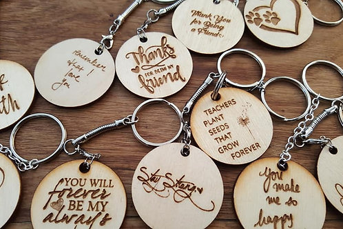 Key ring choice of 4cm, 5cm, Heart or wooden slices, Personalised