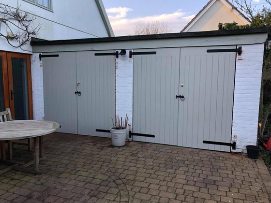 Two pairs of garage doors