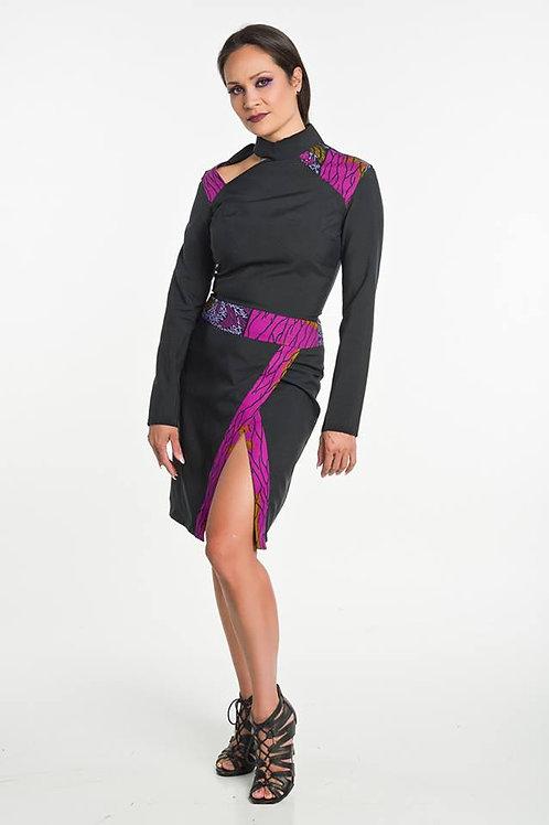 Peek-a-Boo Shoulder Dress w Asymmetrical Slit