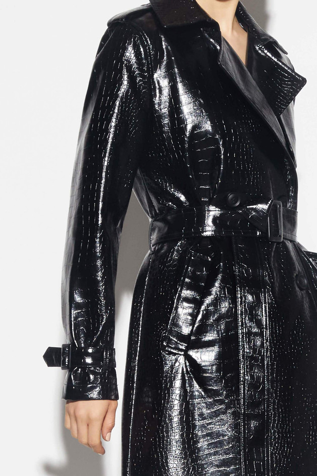 Faux python trench coat