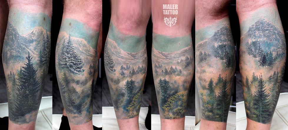 Художественная татуировка Лес, Туман, Горы, тату в Екатеринбурге