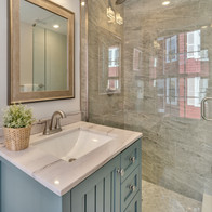Gorgeous clean bathroom in contemporary condo renovation photograph by Allard Media Group