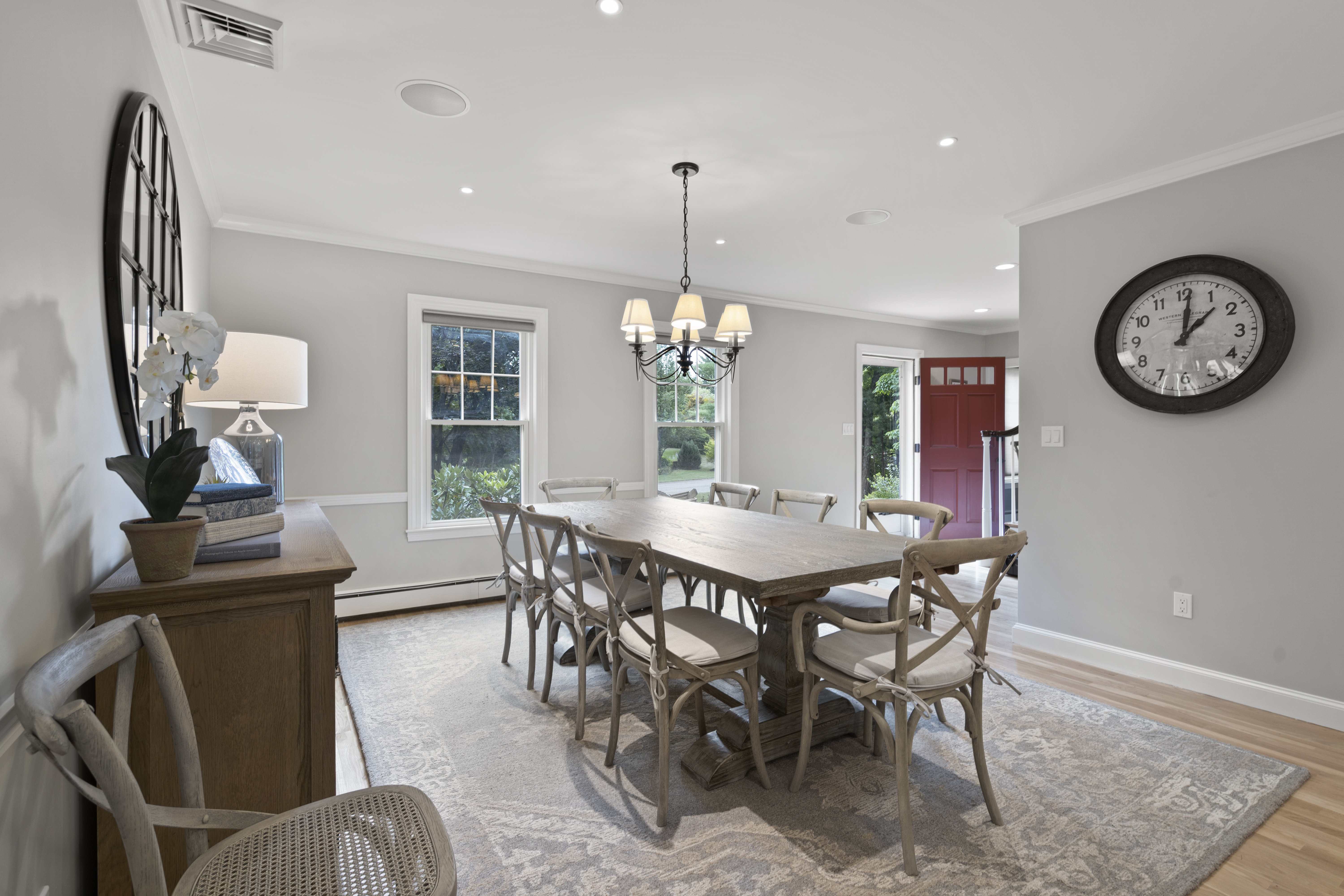 Beautiful custom dining area and kitchen high-end editing real estate photography