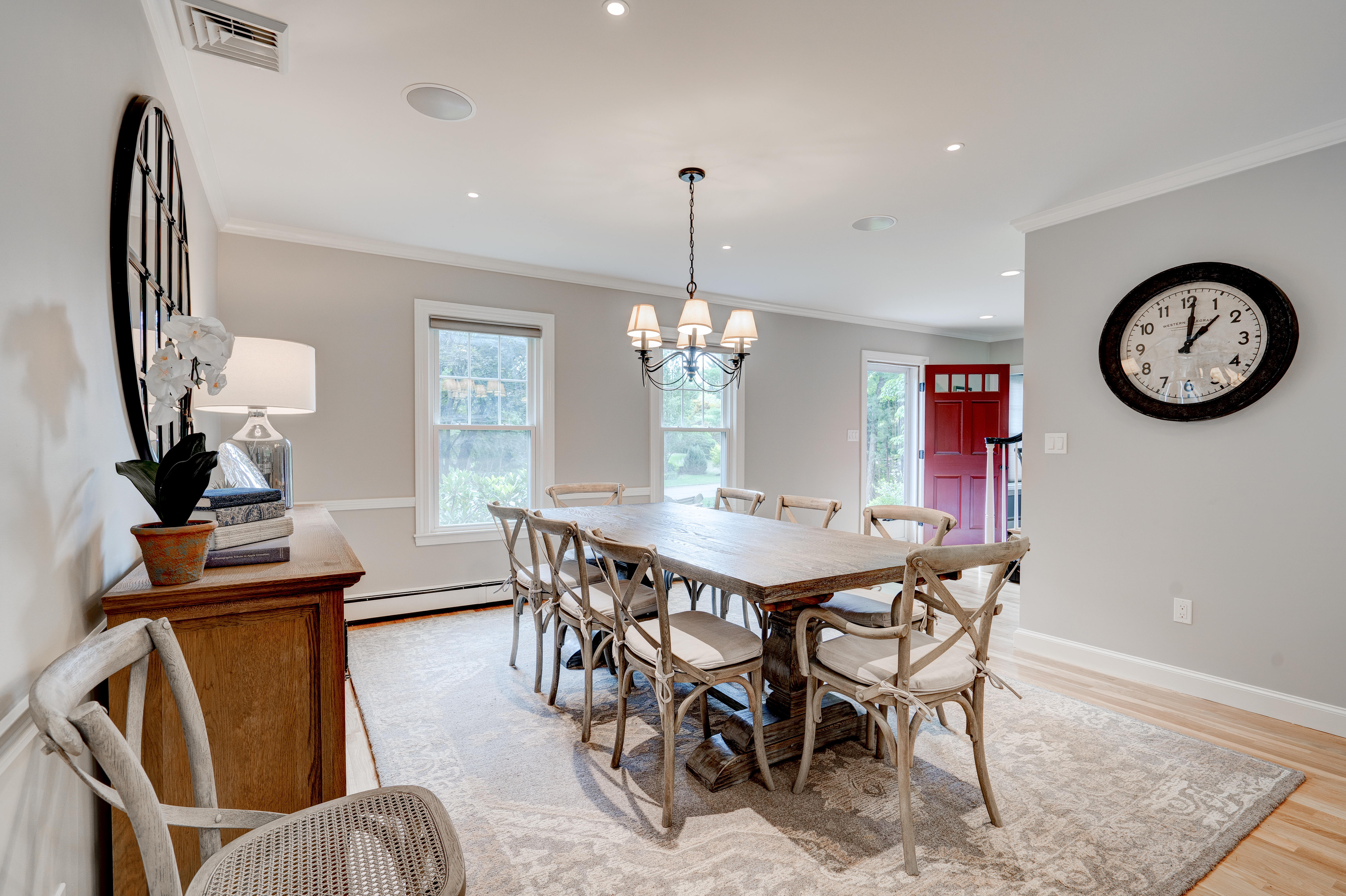 Custom dining area and kitchen real estate photography