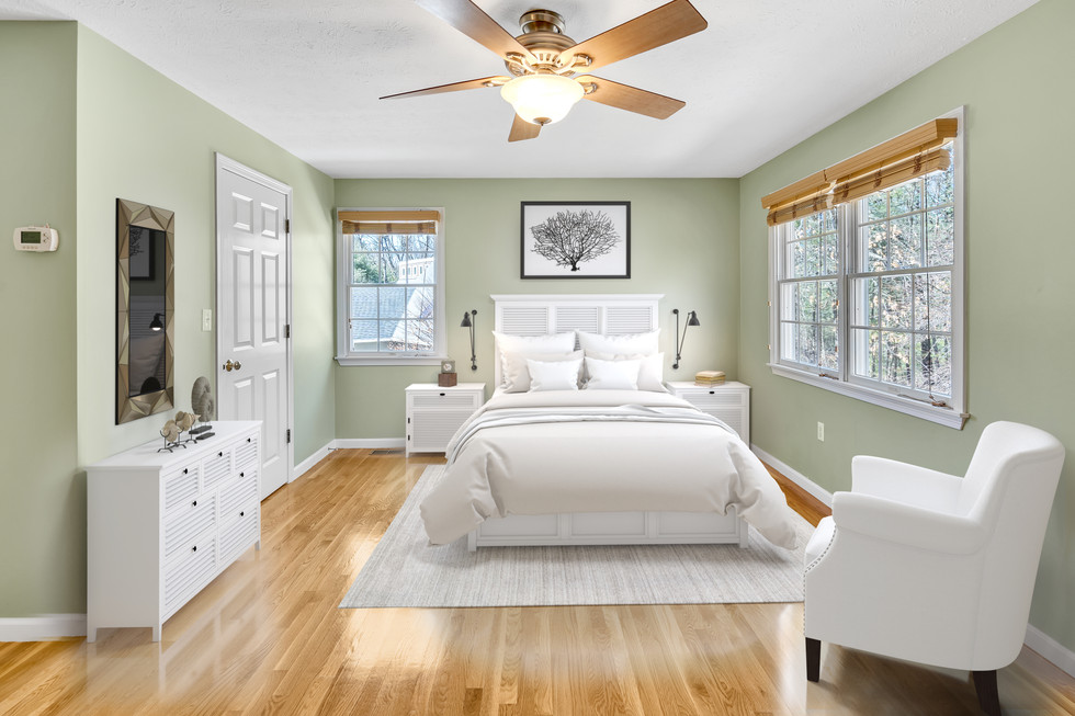 Virtually staged beautiful master bedroom custom build in real estate photograph by Allard Media Group