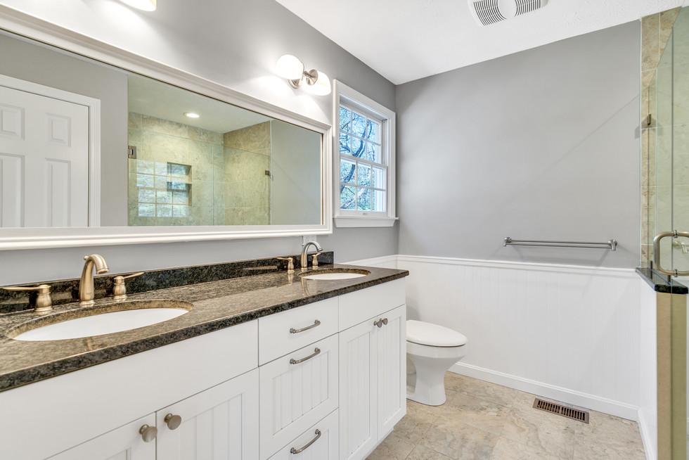 Beautiful master bathroom renovation custom build in real estate photograph by Allard Media Group