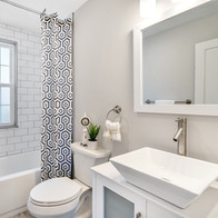 Beautiful bathroom renovation in real estate photograph by Allard Media Group